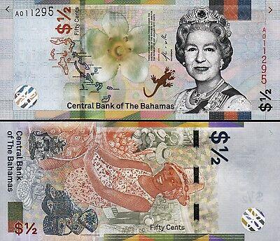 Bahamas 1/2 Dollar Fifty Cents , 2019 , UNC , NEW DESIGN , P-New , QUE II