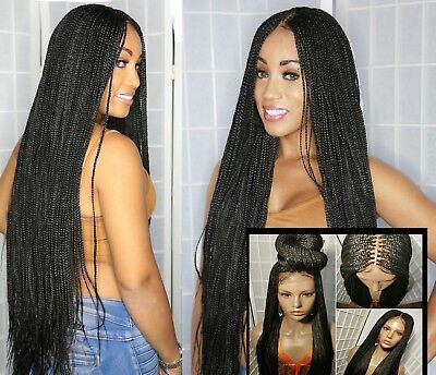 In Stock 3strand Lace closure black braided wig w/ bleached knots &baby hair 27'
