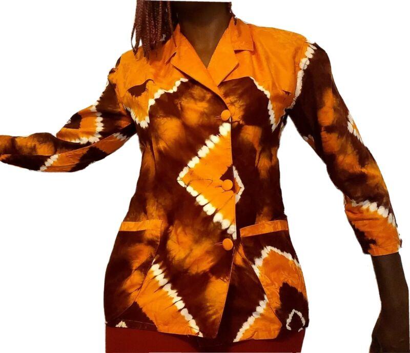 African Women Orange and Brown Tye Dye Vintage Style Blazer.