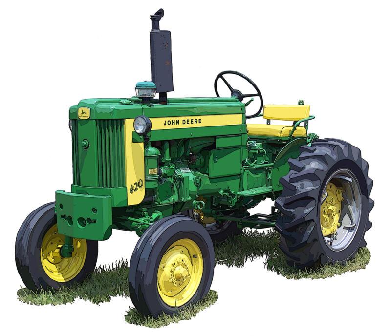John Deere Model 420S farm tractor canvas art print by Richard Browne