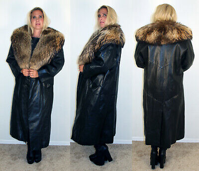Black Lambskin Leather Coat Finnish Raccoon Fur Collar Size XL Extra Large 14 16 Leather Coat With Fur Collar