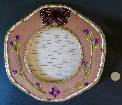 """Monarch Butterfly, quill/birchbark picture frame-w/flowers 7.5""""-P St John-Mohawk"""