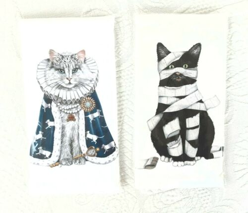 2 Flour Sack Towels NIP Mary Lake-Thompson 1 Black Cat Guilty TP 1 White Queen