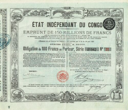 AFRICA INDEPENDENT STATE OF CONGO stock certificate/bond 1888