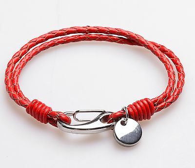 Men Women' Unisex Genuine Braided Leather Stainless Steel Clasp Bracelet Red B1