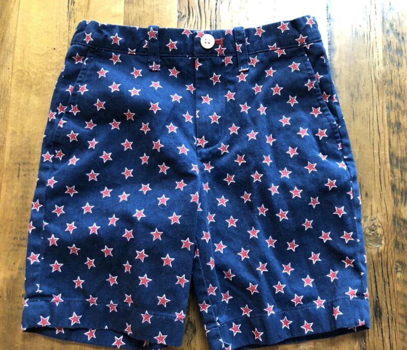 Crewcuts Flat Front Shorts Navy Blue Red & White Stars Size 6 H9984 Adj Waist