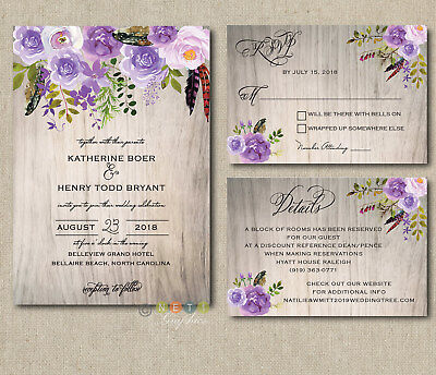 100 Personalized Wedding Invitations Rustic Wood Lavender Lilac Floral Suite](Floral Wedding Invitations)