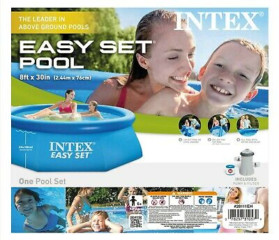 """💦Intex 8' x 30"""" Easy Set Round Inflatable Above Ground Pool Incl. Pump & Filter"""