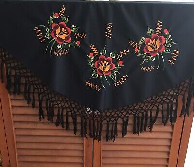 Vintage Scarf Styles -1920s to 1960s Vintage Embroidered Floral Fringed Shawl Wrap/Piano Scarf $29.99 AT vintagedancer.com