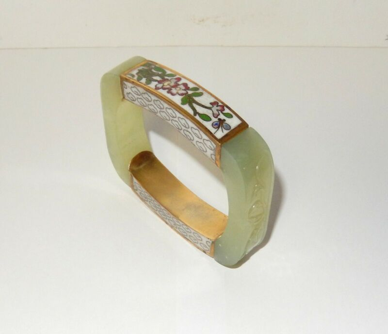 RARE LARGE 15MM WHITE CELADON CARVED JADE AND CLOISONNE BRACELET