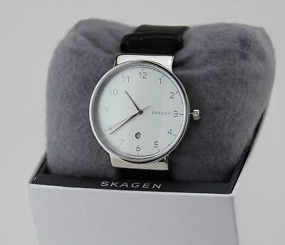 NEW AUTHENTIC SKAGEN ANCHER SILVER BLACK LEATHER MEN'S SKW6291 WATCH