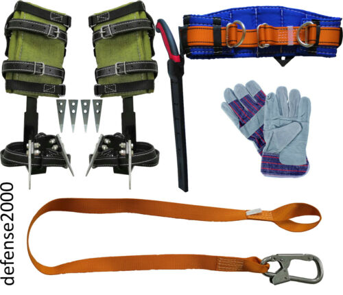 "Tree Climbing Spike Set, Safety Belt with 10"" Pruning Saw, Lanyard, Gloves"