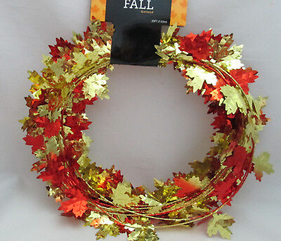 Fall 25 Ft. Leaf / Leaves Metallic Wired Garland
