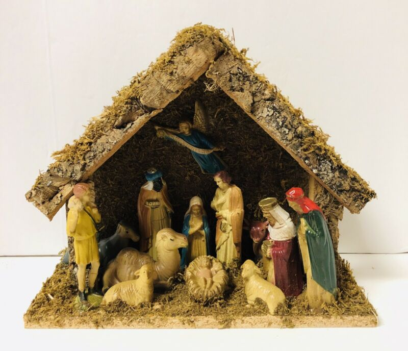 Vintage Holiday Home Nativity Set Wood Stable 13 Figures Handpainted Complete