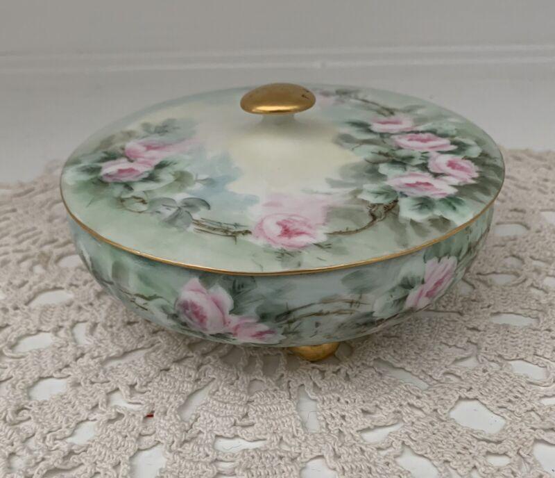 "Hand Painted T & V Limoges Covered Powder Dresser Jar Box Green w/ Pink Roses 5"""