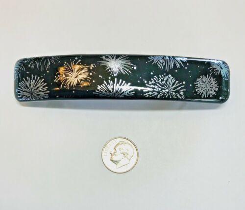 """Handmade By Janet Wolery - 4"""" Dichroic Fused Glass Hair Barrette - FIREWORKS"""