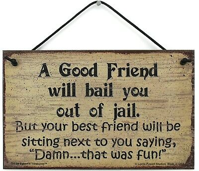 5x8 Sign A Good Friend Will Bail You Out of Jail BEST Friend Next To You FUN BFF ()