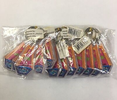Plastic Keychains (12 Pieces  Miami Souvenir Keychain Plastic Double Sided New, Great)