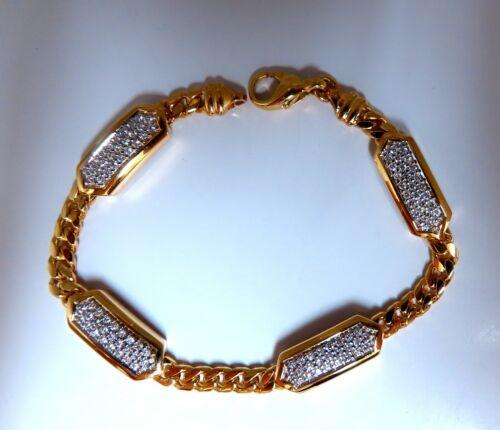 1.63ct Natural Round Diamonds Rectangular Vector Curb Link Bracelet 18kt