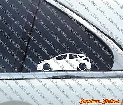 2x Lowered car outline stickers - for Ford Focus ST hatchback Mk3, 2011+