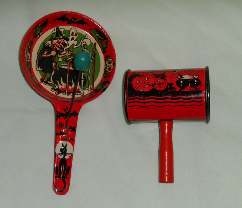 vintage Halloween NOISEMAKER LOT x2 U.S. Metal witch with cauldron, witch/moon