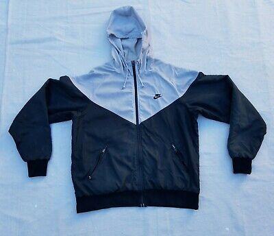 VTG 90's Nike Windbreaker Lined Hooded Jacket Gray/Black Size Men's XL