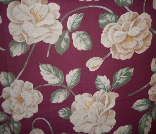 Antique Vintage Camellia Gardenia Floral Cotton Fabric ~Cream Beige Burgundy Red