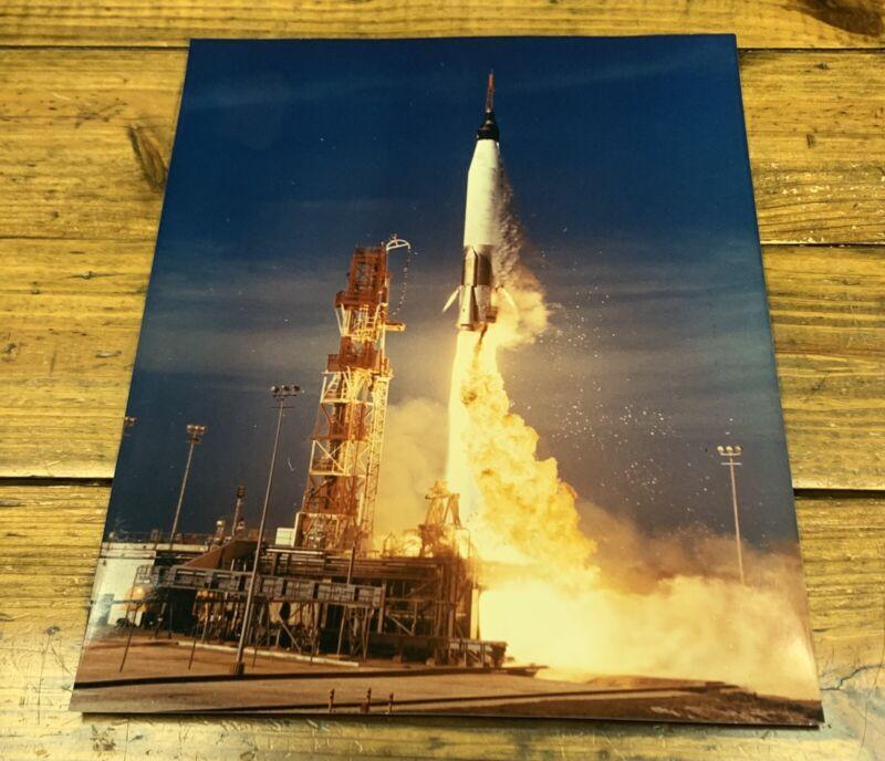 "ORIGINAL 1960s PROJECT MERCURY TAKE OFF LAUNCH OVERSIZE 11""x14"" PHOTO NASA KODAK"
