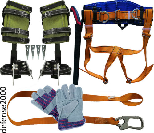 "Tree Climbing Spike Set, Safety Belt, Lanyard, 10"" Pruning Saw, Gloves"