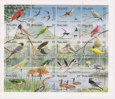 MALAWI - BIRDS, 1992 - SC 598 SHEETLET OF 20 MNH