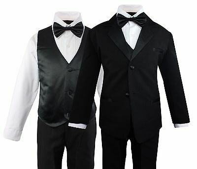 Boys Formal Tuxedo Suit 5 Pieces Set Set Wedding Party Toddler Size 2T to 14 - Boys Suit