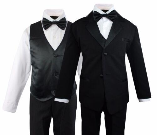 Boys Formal Tuxedo Suit 5 Pieces Set Set Wedding Party Toddler Size 2T to 14