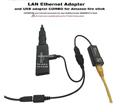 LAN Ethernet connector & USB adapter for Amazon Fire Stick 2nd gen or FIRE TV 3