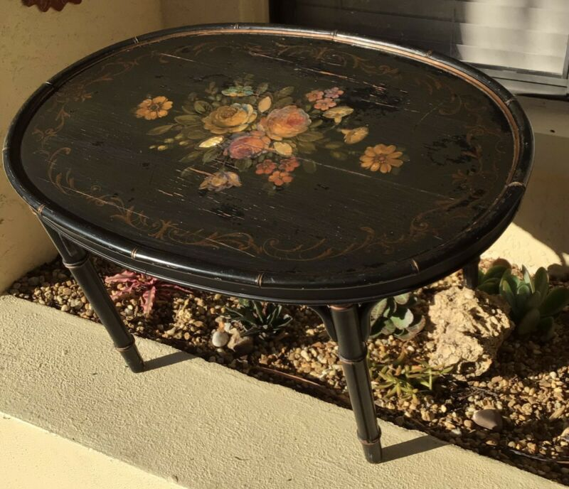 FINE ANTIQUE HOLLYWOOD REGENCY HAND PAINTED TOLE HARDWOOD COFFEE TABLE