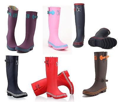 Plain Wellies (Ladies Plain Evercreatures Tall Wellies Rain Wellington Boots - UK 3 - 8)