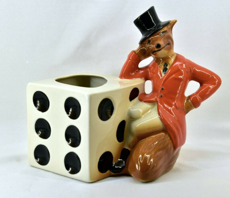 Vintage 1981 Collectable JIM BEAM Regal China Bar Top Straw Holder Fox and Die
