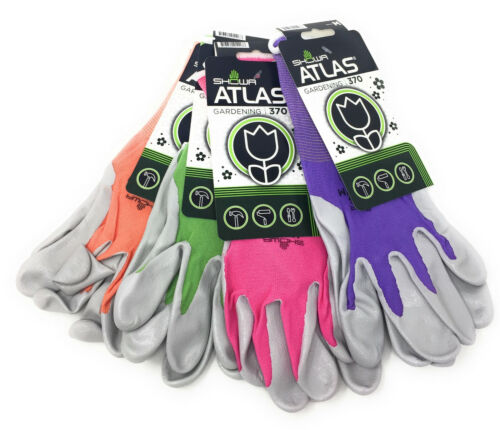 Atlas Showa 370 Pastel Nitrile Gardening Gloves   4 Pack   Assorted Colors