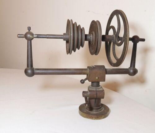 rare antique 19th century industrial cast iron textile spool bobbin winder mech.