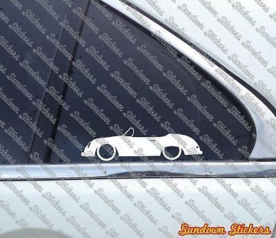 2X classic car outline stickers - for Porsche 356 Speedster | vintage
