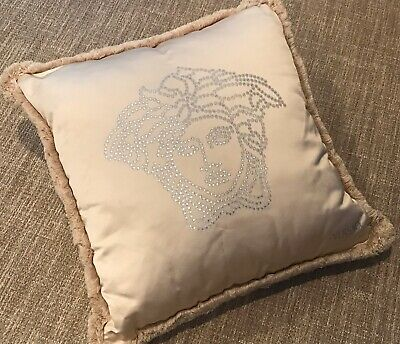 GORGEOUS VERSACE STUDDED MEDUSA SILK PILLOW