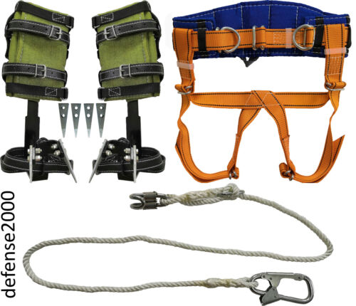 Tree Climbing Spike Set, Safety Belt With Straps, Adjustable Lanyard 2 Carabiner