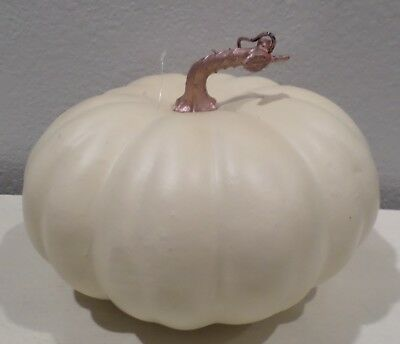 Large Fall Gourd (1 WHITE PUMPKIN HOME DECOR DISPLAY FALL THANKSGIVING HALLOWEEN LARGE GOURD NEW )