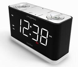 iTOMA A7 Alarm Clock with FM Radio, Night Light, Dual Alarm, Cell Phone Charging
