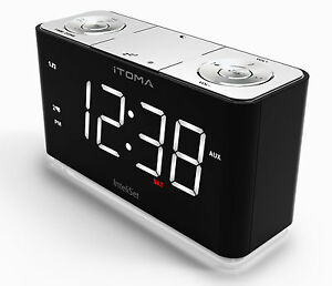 iTOMA A7 Alarm Clock with FM Radio, Night Light, Dual Alarm, Cell Phone Charging