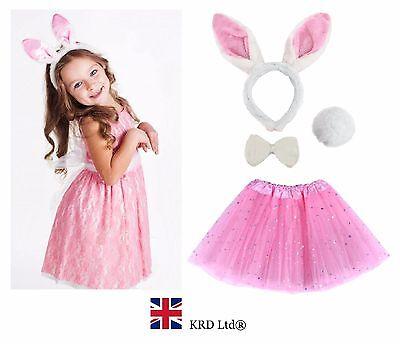 Kids EASTER BUNNY Fancy Dress Costume Pink TUTU EARS TAIL BOW Accessory Set UK