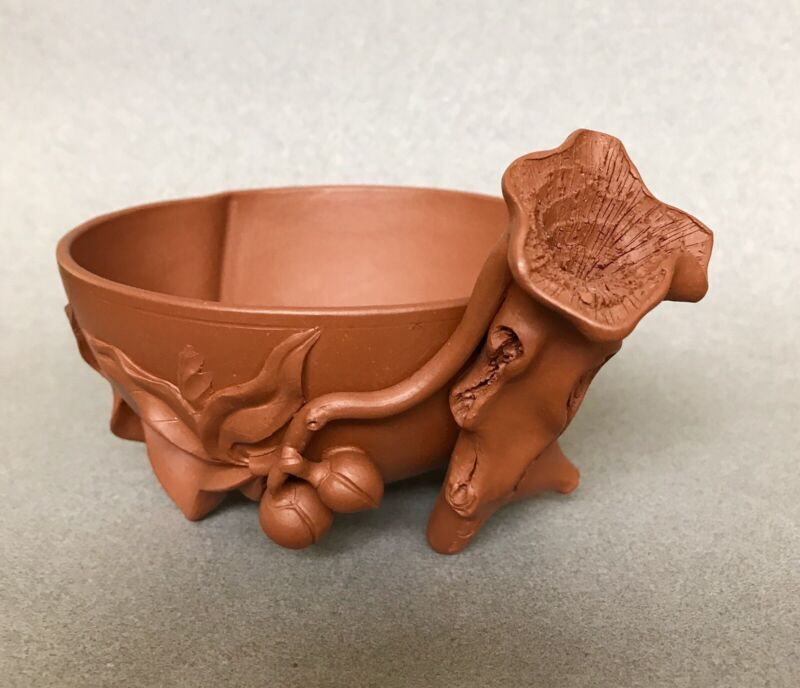 Yixing Red Stoneware Lotus Cup For The Scholar's Table