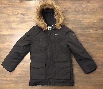 Woolrich Boys Down Puffer Hooded Coat Faux Fur Black Size 8