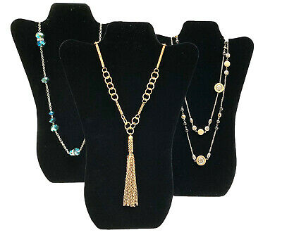 Three Black Velvet Necklace Pendant Easel Display Stands Displays 14-34 Tall