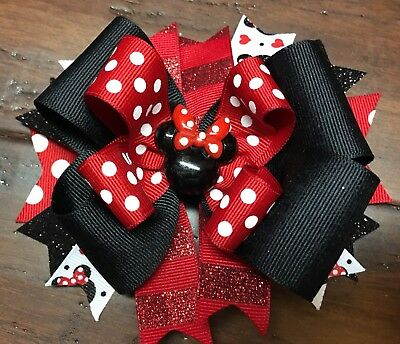 Minnie Mouse Stacked Boutique Hair Bow Red Dots Disney Girl Clip
