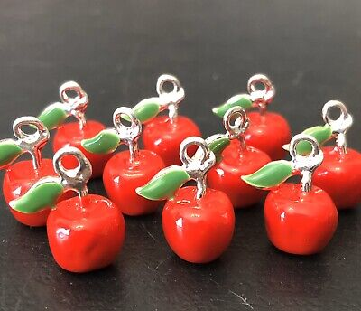 10 X IMPERFECT RED APPLE ENAMEL PENDANT CHARMS JEWELLERY MAKING